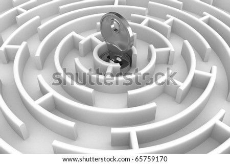 White circle labyrinth with key. 3D image - stock photo