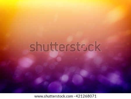 white circles or bubbles on soft purple and yellow orange background with blurred bokeh lights - stock photo