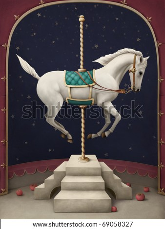 White circus horse. - stock photo