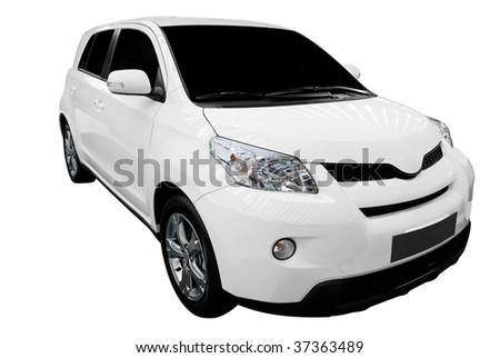 white city car isolated - stock photo
