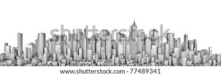 White city panorama - stock photo