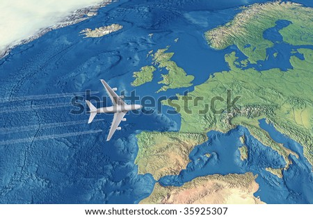 White Civil Airplane over the Atlantic ocean flying to Europe - stock photo