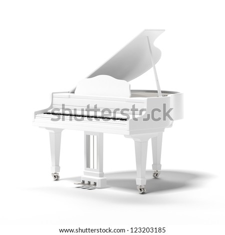 White classic grand piano isolated on a white background - stock photo