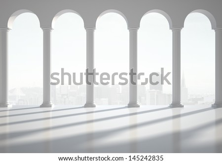 white classic interior with column - stock photo