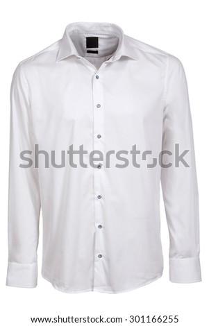 white classic long sleeve shirt - stock photo