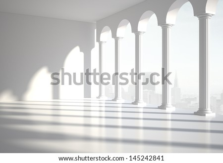white classic room with column - stock photo