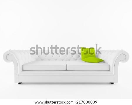 white classic sofa isolated on white - stock photo