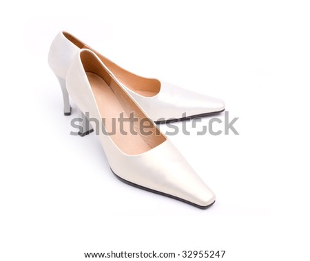 White classical wedding shoes