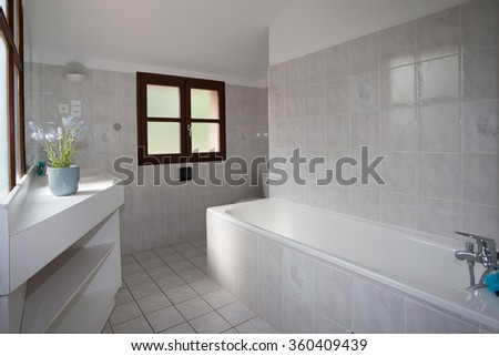 White clean and modern minimal bathroom in a house