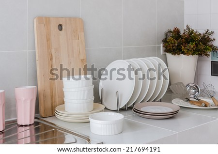 white clean kitchen with utensil