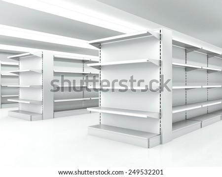 white clean shelves in market. 3d rendering - stock photo