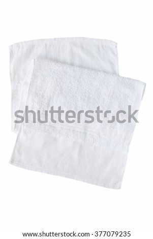 White clean towel isolated on white background