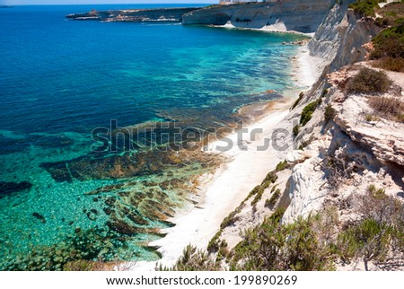 White cliffs at the coast of Malta - stock photo