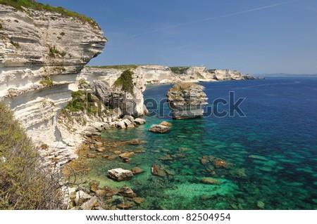 White Cliffs near Bonifacio - Corsica - France - stock photo