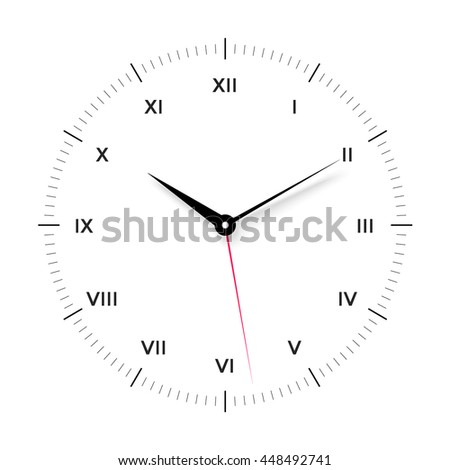 White clock face for with black and red pointer and roman numerals on white background. Illustration