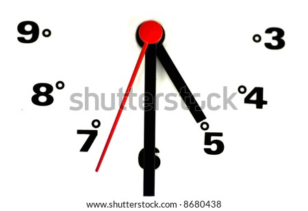 White clock face with black numbers. - stock photo
