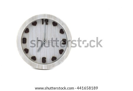 white clock isolate on white background - stock photo