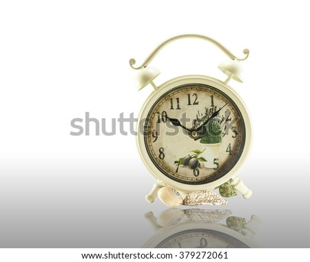 White Clock Isolated on white background, Vintage clock