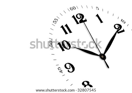 White clock isolated, time concept - stock photo