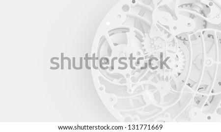 White clock mechanism - stock photo
