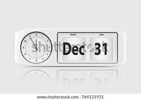 White clock on white background , Christmas and happy new year concept