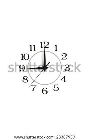 white clock showing nine isolated - stock photo
