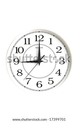 white clock showing nine o'clock isolated - stock photo