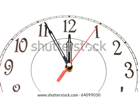 white clock showing time about nine isolated - stock photo