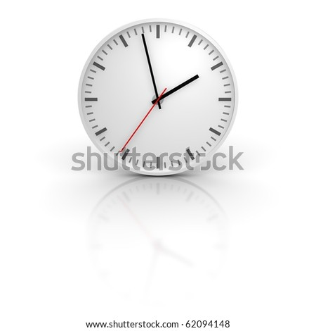 White clock with reflection. 3d rendered illustration. - stock photo