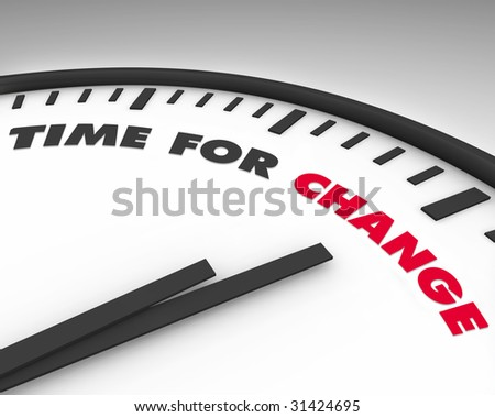 White clock with words Time for Change on its face - stock photo