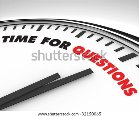 White clock with words Time for Questions on its face - stock photo