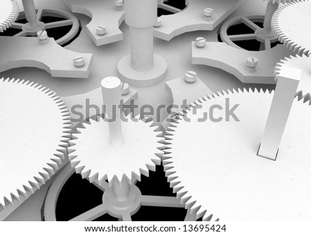 White Clockwork, white 3d, horizontal