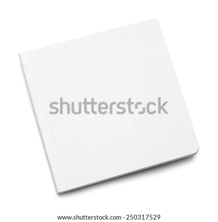White Closed Board Book With Copy Space Isolated on White Background. - stock photo