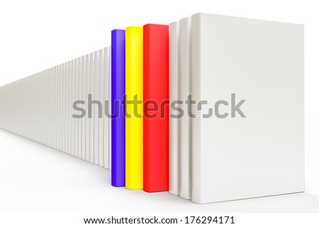 White closed books on white background .