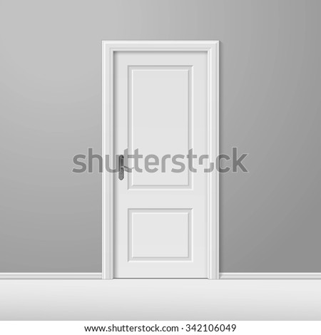 White Closed Door with Frame Isolated on Background - stock photo