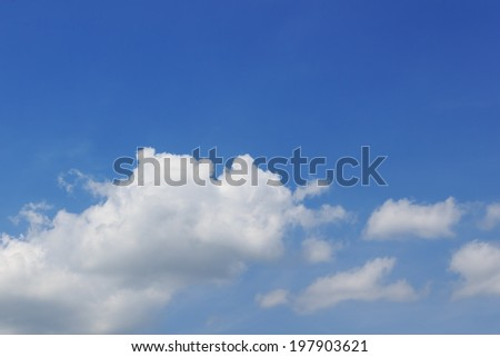 White Cloud against Blue Sky Background - stock photo
