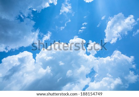 White cloud and blue sky under sunshine