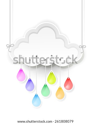 white cloud and rain drops with rainbow colors - stock photo