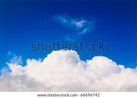 White cloud blue sky background - stock photo