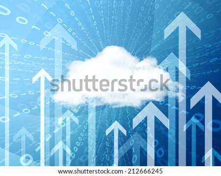White cloud, figures and arrows. Business concept