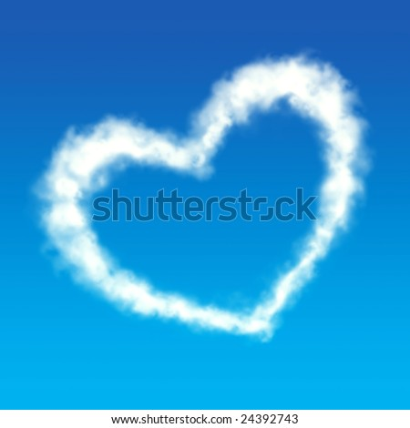 White cloud heart shape in the blue sky, perfect for Valentines day. - stock photo
