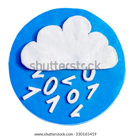 White cloud in a blue circle of plasticine. Isolated on white background.Data in the form of digital zeros and ones. White cloud in a blue circle of plasticine. Isolated on white background. - stock photo