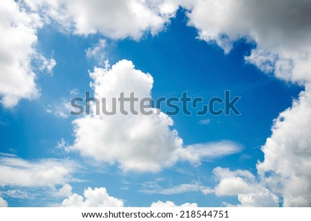 white cloud in the blue sky  - stock photo