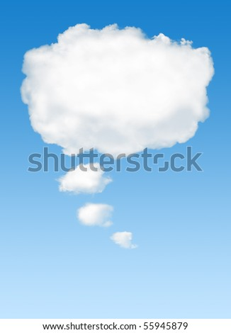 White cloud in the sky with the shape of a cartoon thinking balloon - stock photo