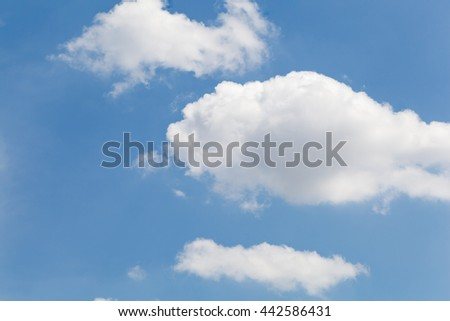 White clouds floating in the blue sky.