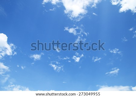 White clouds in a blue sky. Sky background  - stock photo