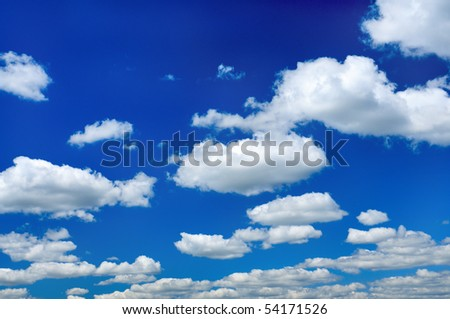 White clouds in a blue sky. Sky background. Sky and clouds background. Clouds - stock photo