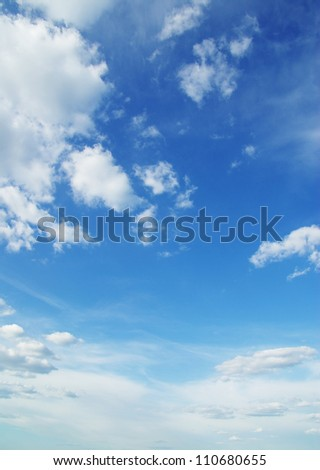 White clouds in blue sky - stock photo