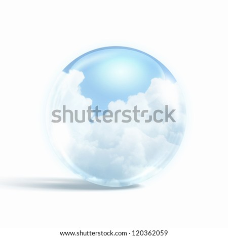 White clouds in blue sky inside a glass sphere