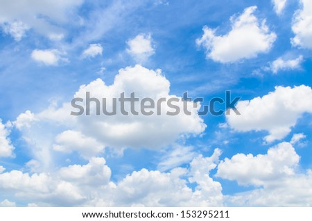 White Clouds in the blue sky background - stock photo